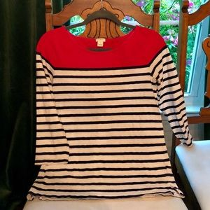 JCrew Striped Nautical 3/4 length sleeve shirt